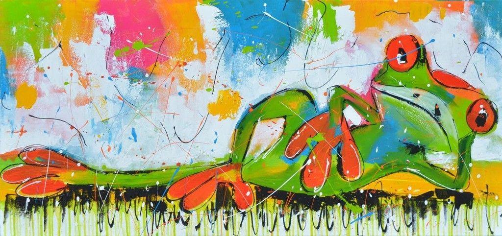 Dit is een: Acrylverf op doek, titel: 'Languit' kunstwerk vervaardigd door: Liz