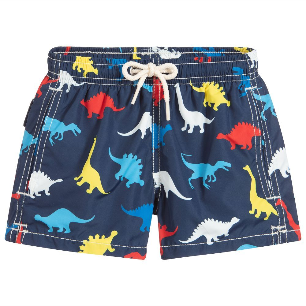 e74bcd59b7 Navy blue swim shorts for boys by MC2 St Barth. They have a fun dinosaur  print, comfortable soft mesh lining and elasticated drawstring waist.