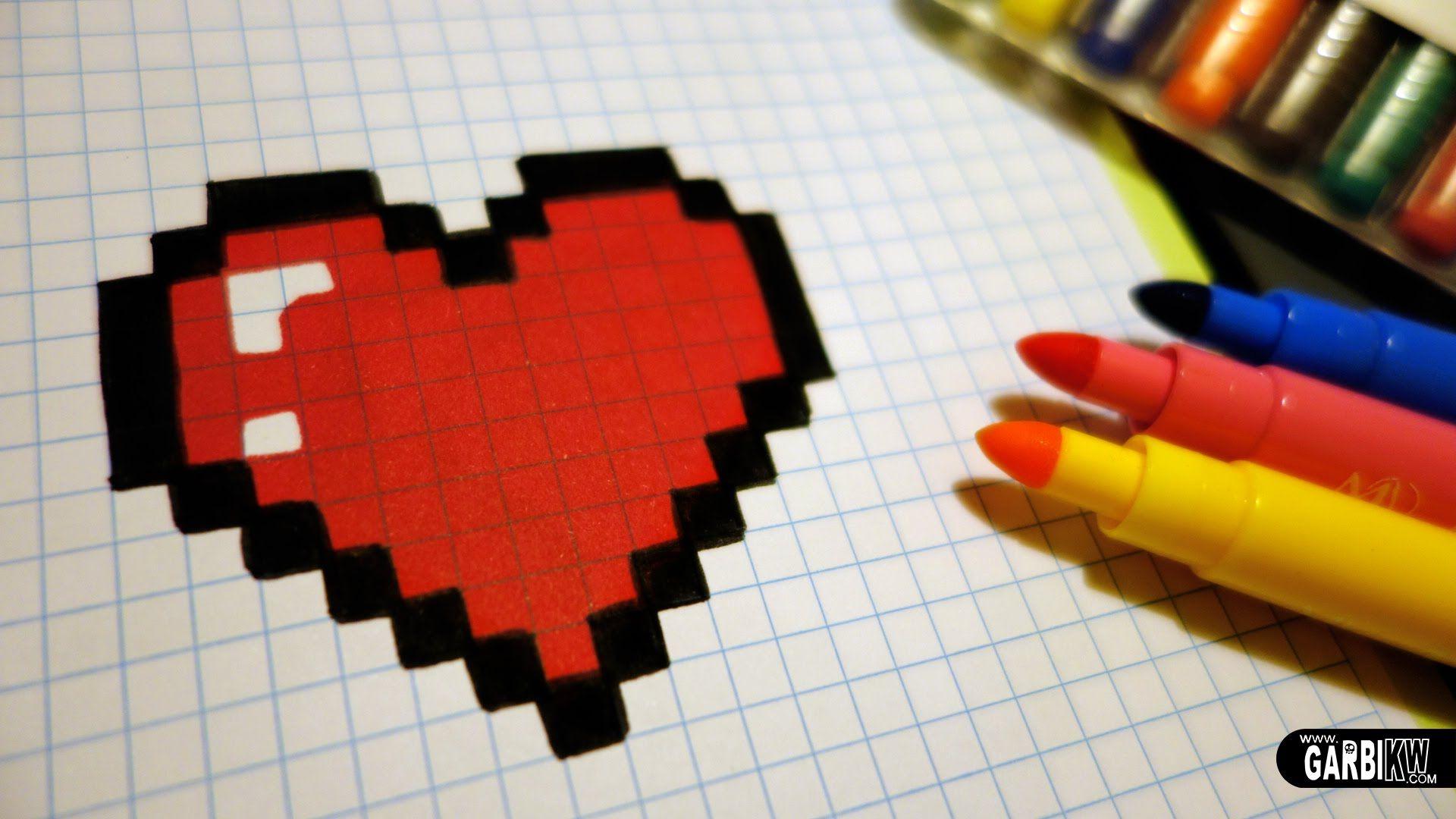 Pixel Art Coeur пиксельные рисунки пиксель арт легкие