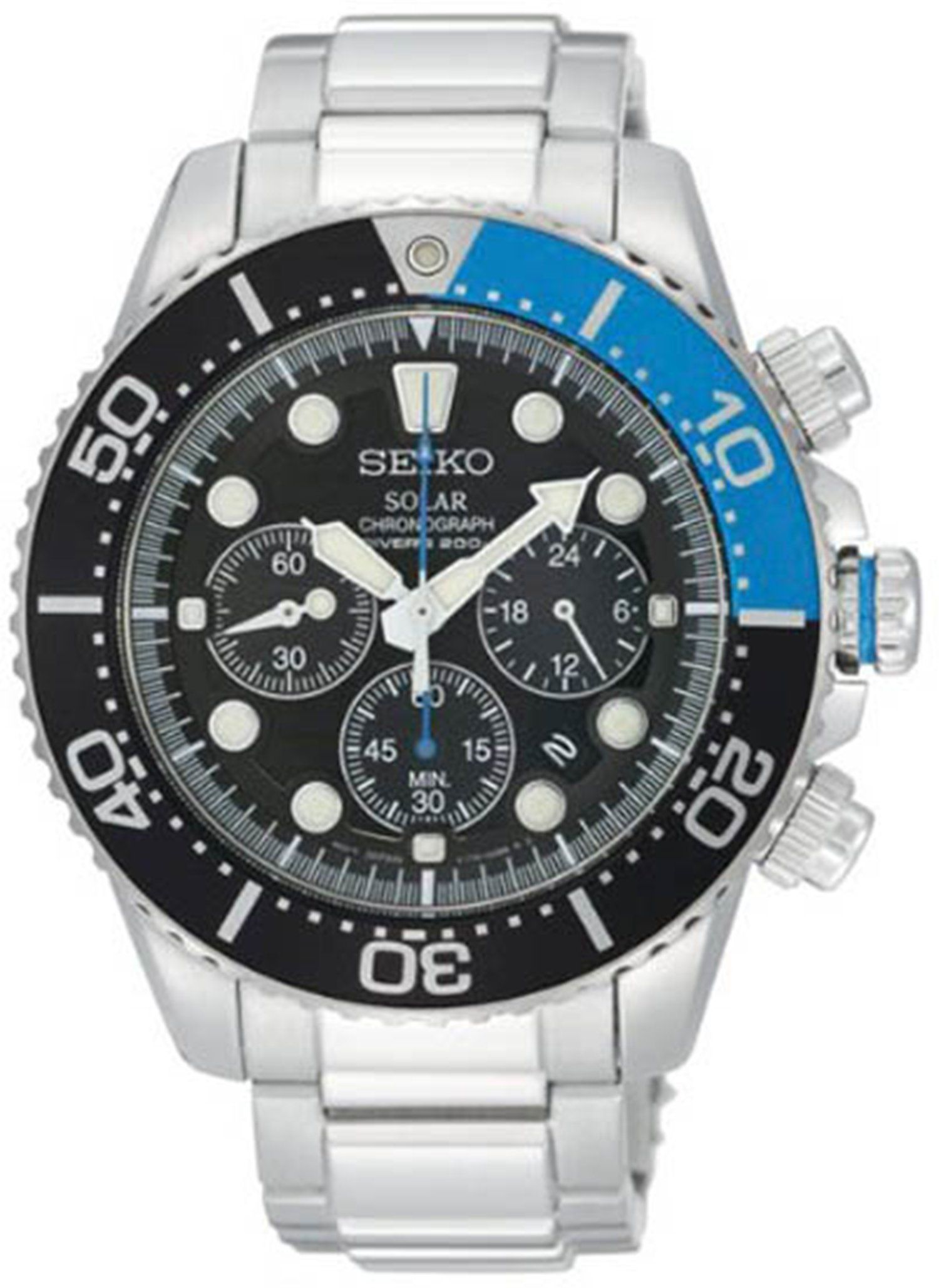 Gents Mens Seiko Sports Watch Stainless Steel Amp Black Dial