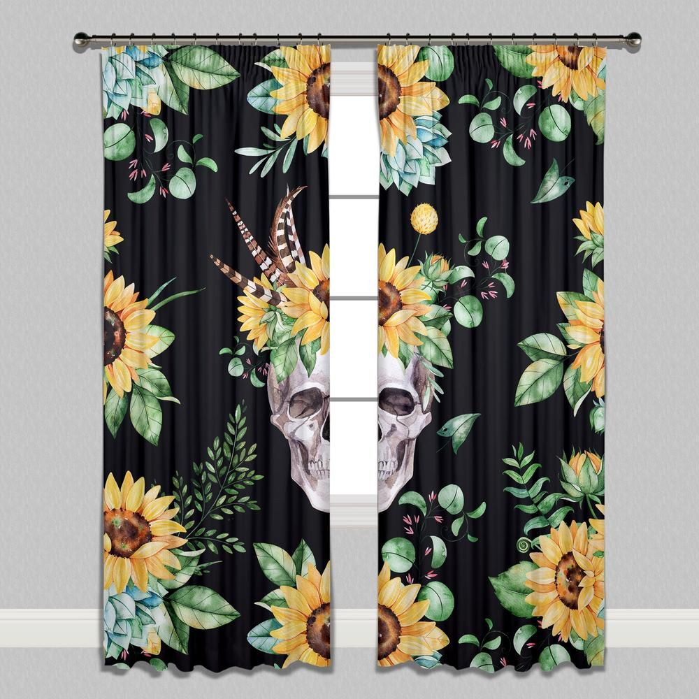 Sunflower and Human Skull on Black Curtains