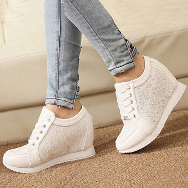 Find More Information about Zapatillas Deportivas Mujer Wedge Sneakers  Women Trainers Shoes Woman White Platform Rhinestones