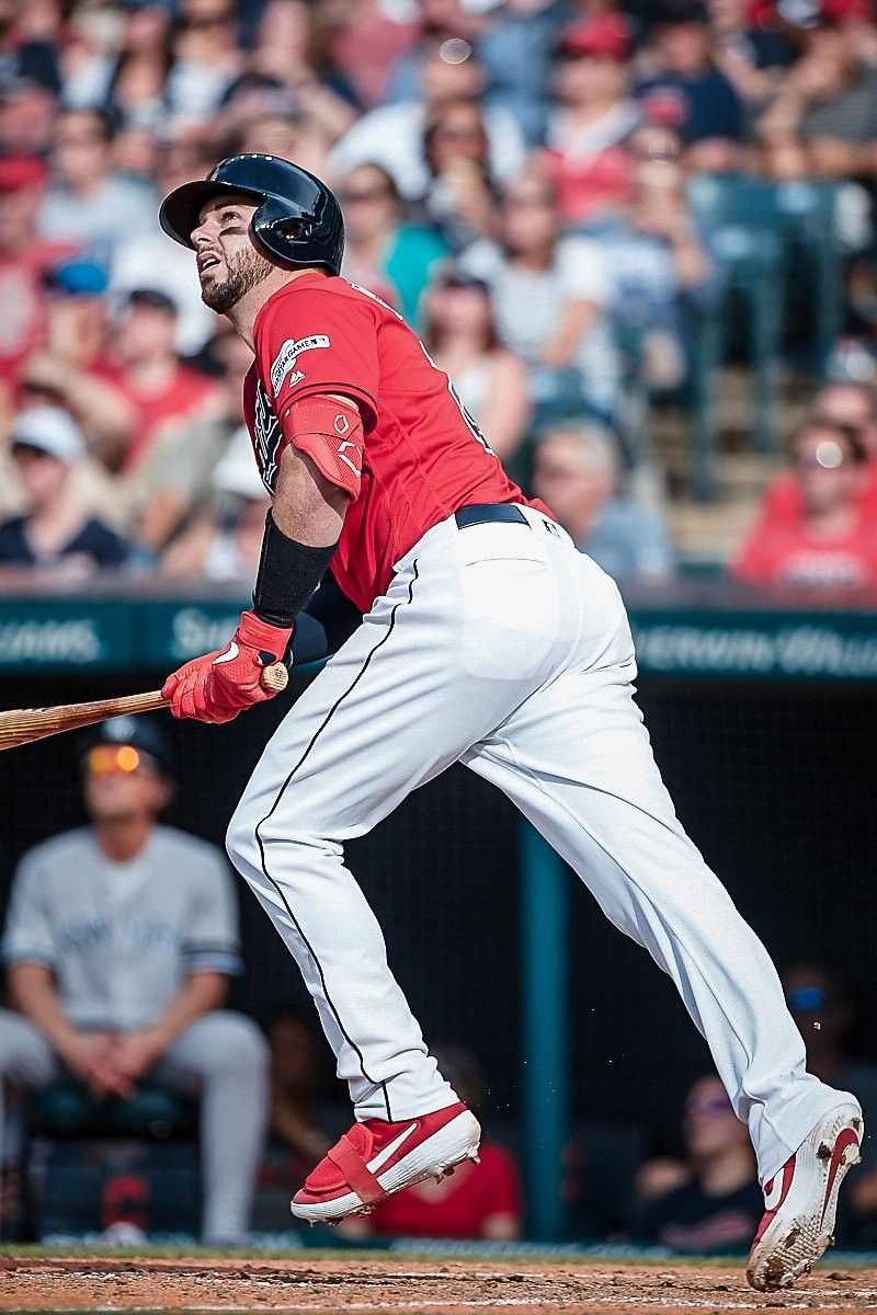 Cleveland Indians Kevin Plawecki Watches His Solo Homer In The Sixth Inning Against The New York Yankees At Progress Cleveland Indians New York Yankees Indians