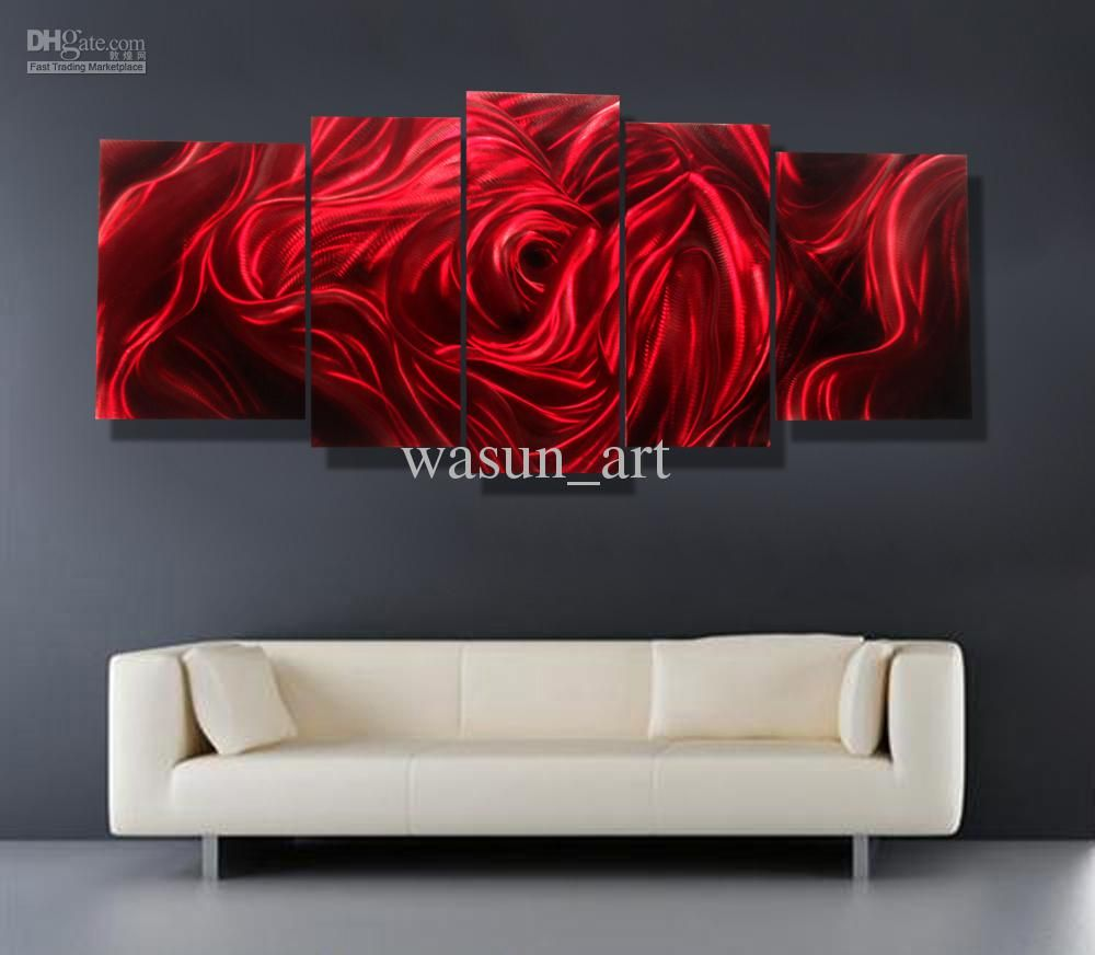 2020 Red Rose Modern Contemporary Abstract Painting Metal Wall Art Sculpture Wall Hanging Decor A00354 From Wasun Art 105 47 Dhgate Com Red Wall Art Metal Wall Art Decor Modern Metal Wall Art