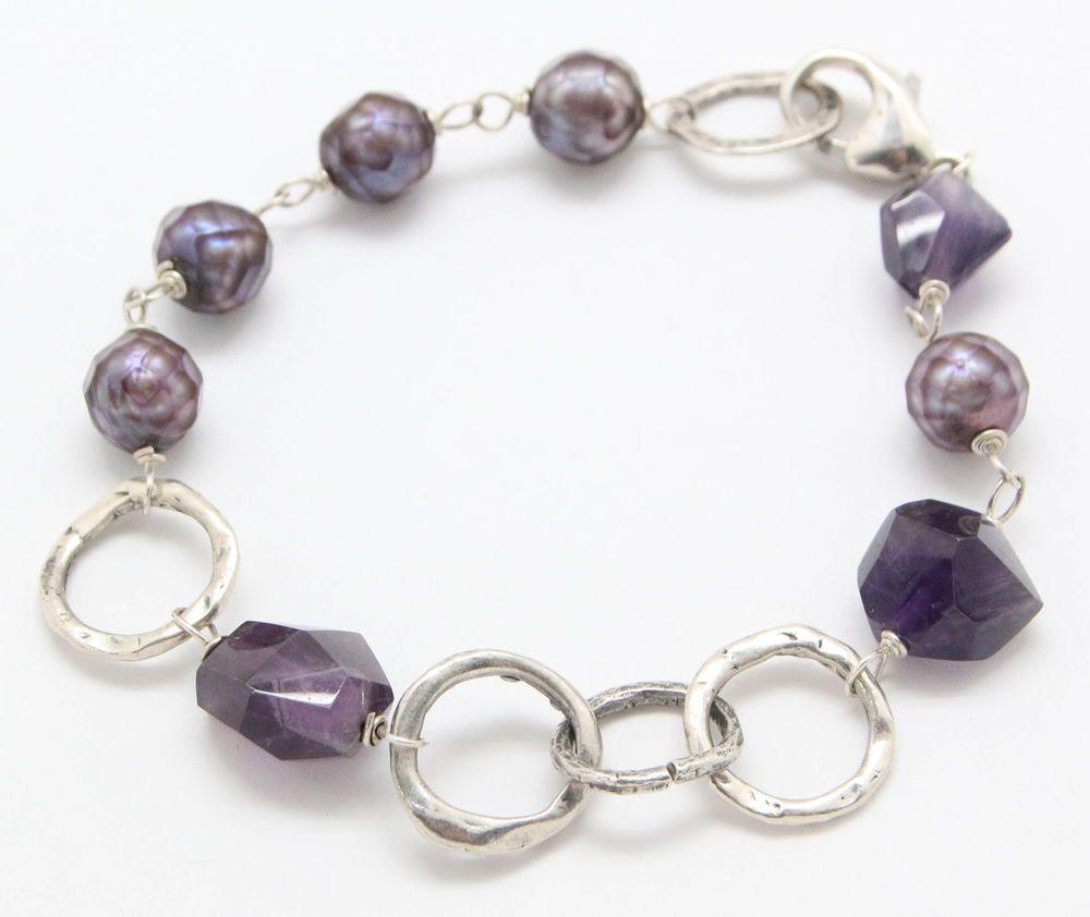 .925 Sterling Silver Purple Amethyst Round Pearl Beaded Bracelet (14.3g) #Unbranded #Unavailable