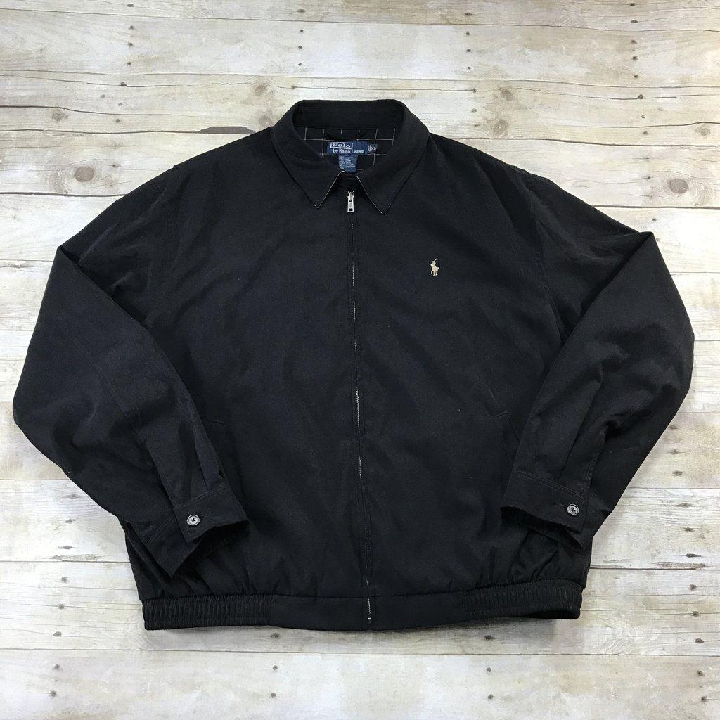 Polo by Ralph Lauren Black Bi Swing Windbreaker Jacket Mens Size XL