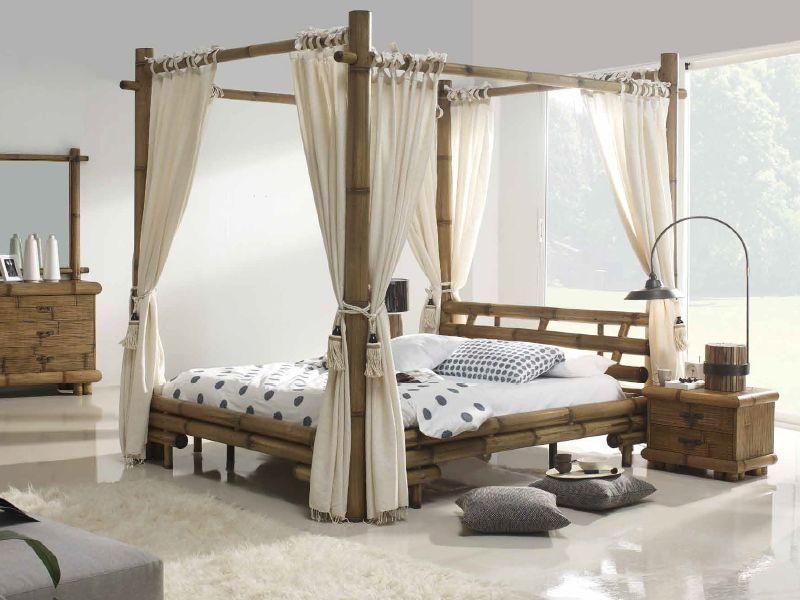 Letto Baldacchino Bambu.Letto A Baldacchino In Legno Massello E Bambu