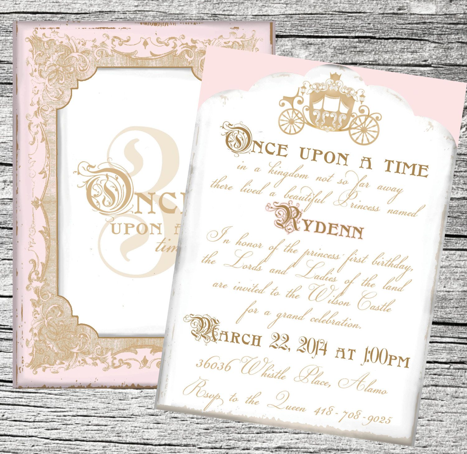 Once Upon a Time Princess Invitation Suite Princess invitations