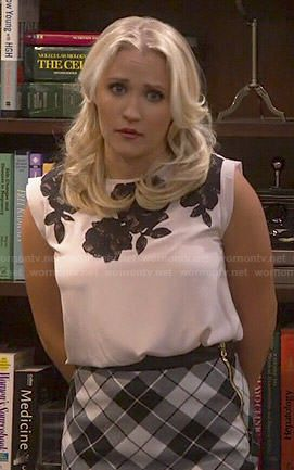 Gabi's blush pink top with black lace and checked asymmetrical skirt on Young and Hungry.  Outfit Details: http://wornontv.net/48259/ #YoungandHungry