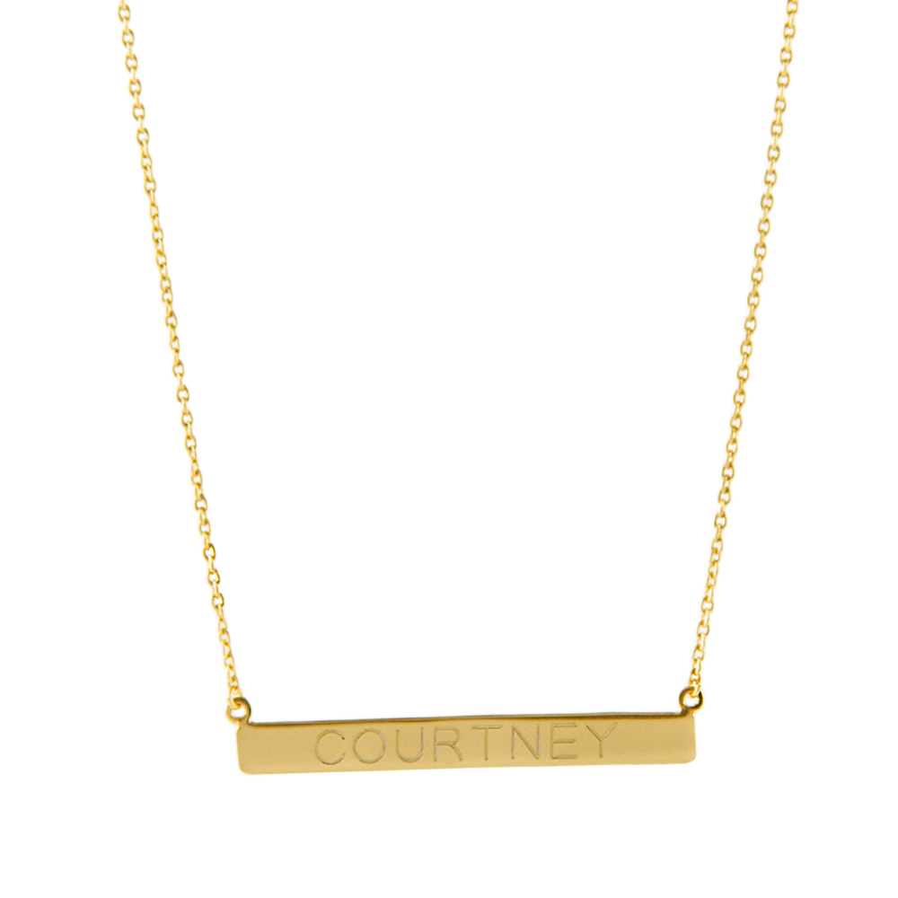 Available Now 14k Gold Plated Sterling Monogram Bar Necklace Bar Necklace Bar Necklace Personalized Monogrammed Bar Necklace