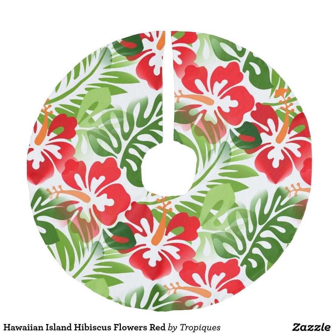 Hawaiian Island Hibiscus Flowers Red Tree Skirt Print On Demand My