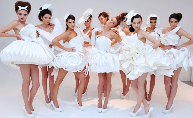 Various runway hairstyles, white paper costumes