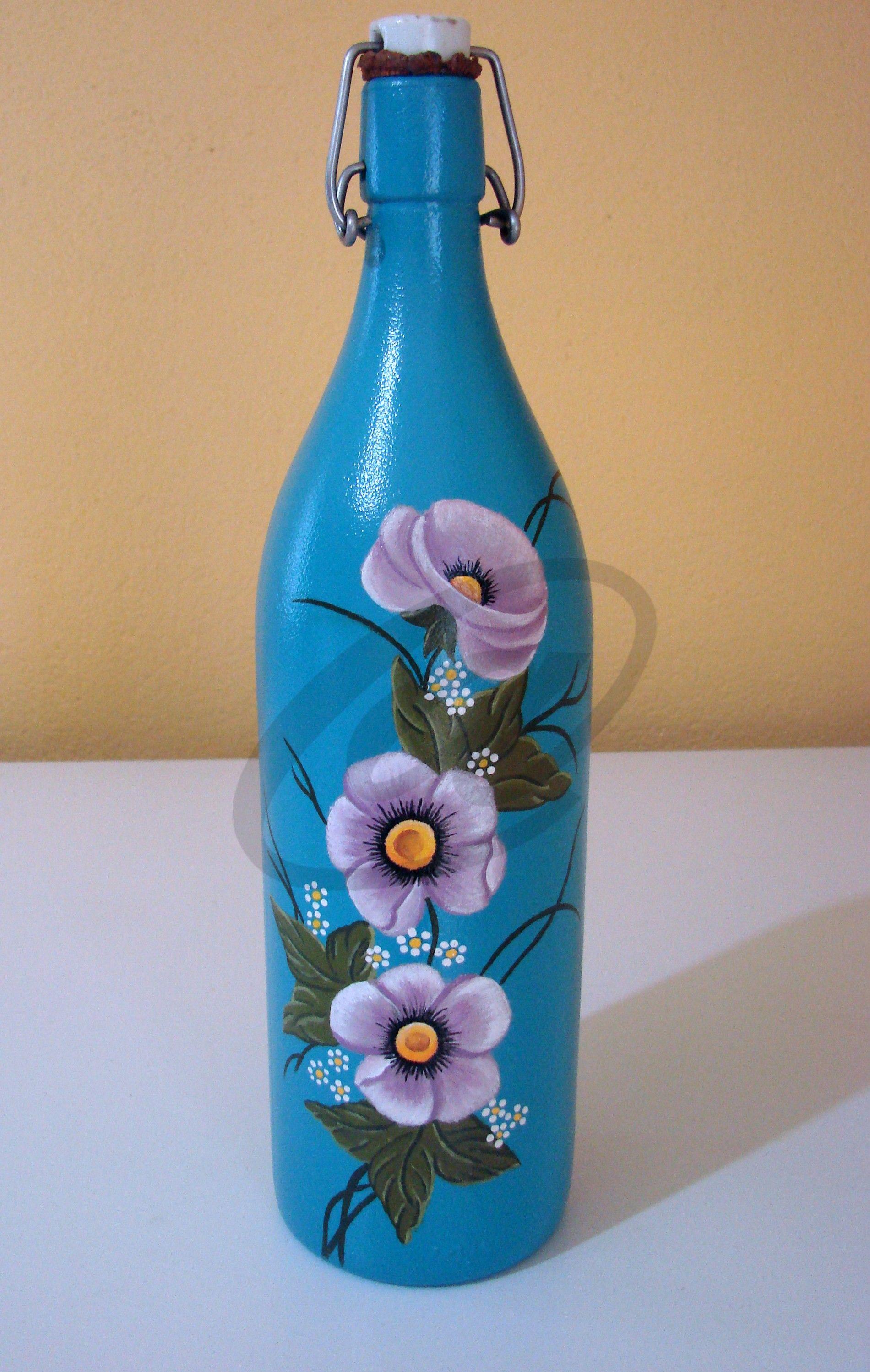 Botella de cristal pintada a mano botellas o cristal for Copas decoradas a mano