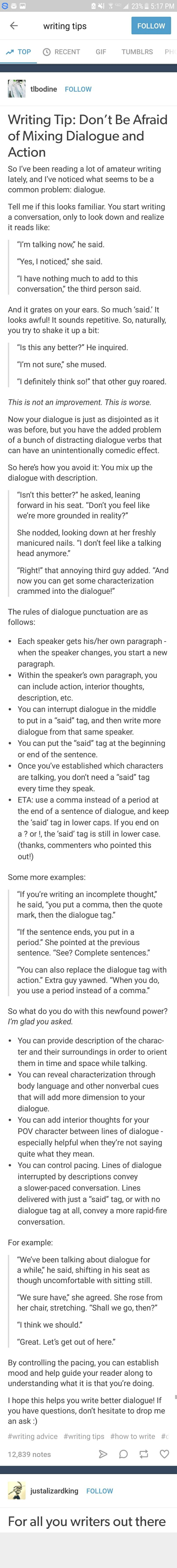 One not on there that should be added  they say nonsense when overly  excited or  On WritingDialogue