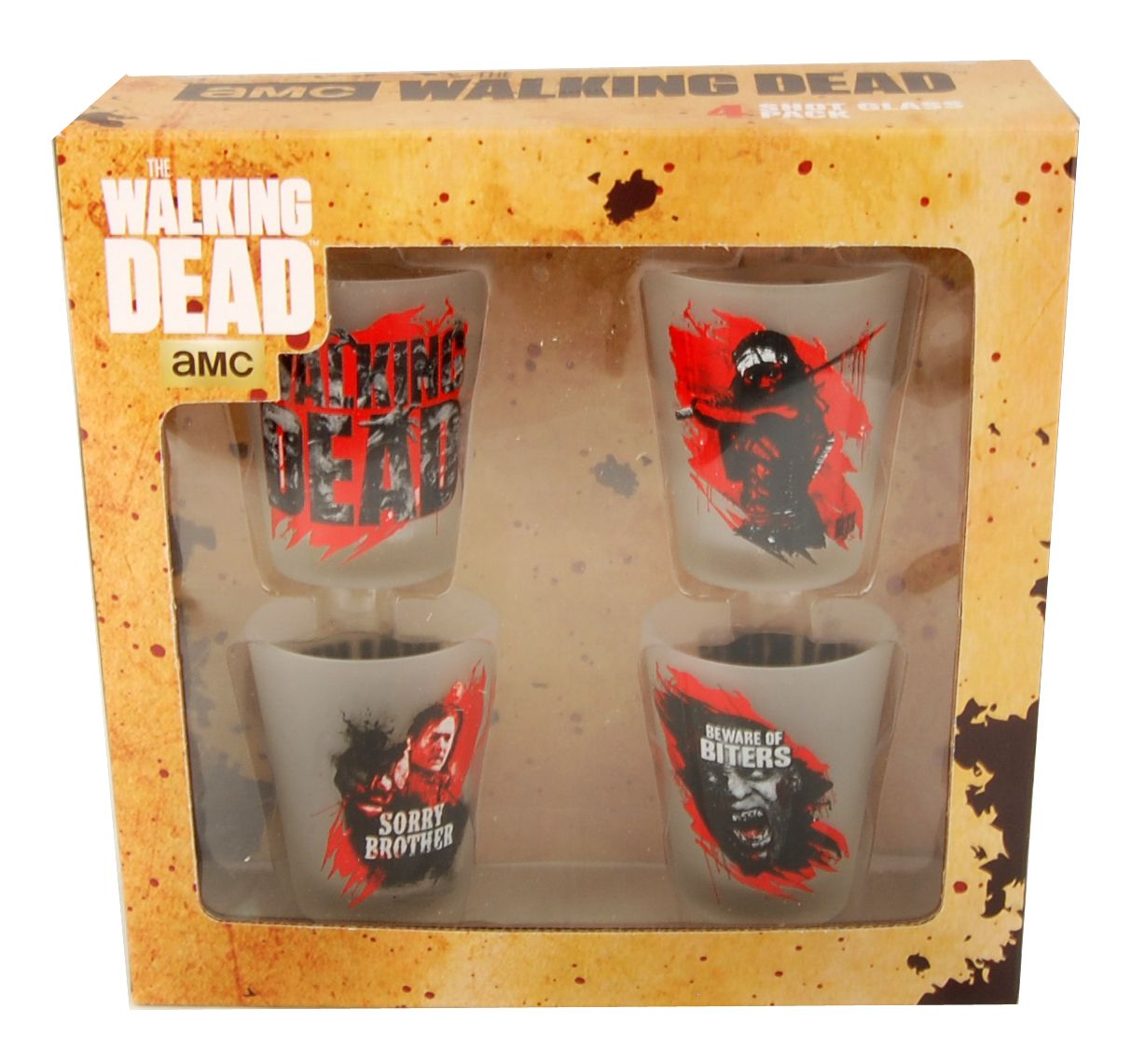 Amplify your desire to come home, unwind, drink alcohol, and watch The Walking Dead with our featured Walking Dead shot glasses!  We also have The Walking Dead costumes and toys available.  galaxorstore.com