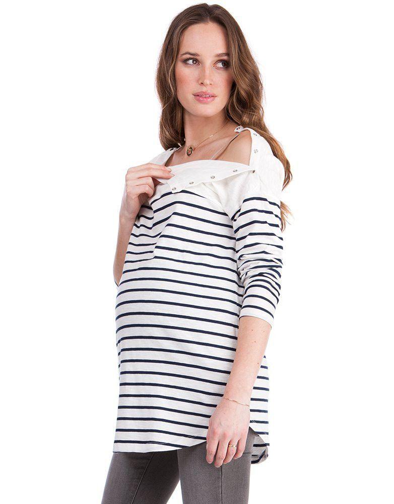 14e795f63a Navy   White Striped Maternity   Nursing Top