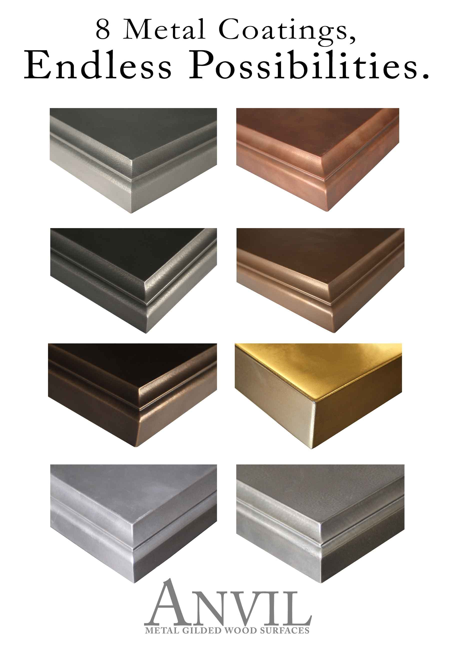 Anvil™ Metal Countertops are available in 8 metal coatings ...