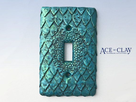 Mermaid Fish Scale Light Switch Cover sculpey unique wall bathroom fantasy folklore teal creature handmade scales decor decoration aquatic #mermaidbathroomdecor