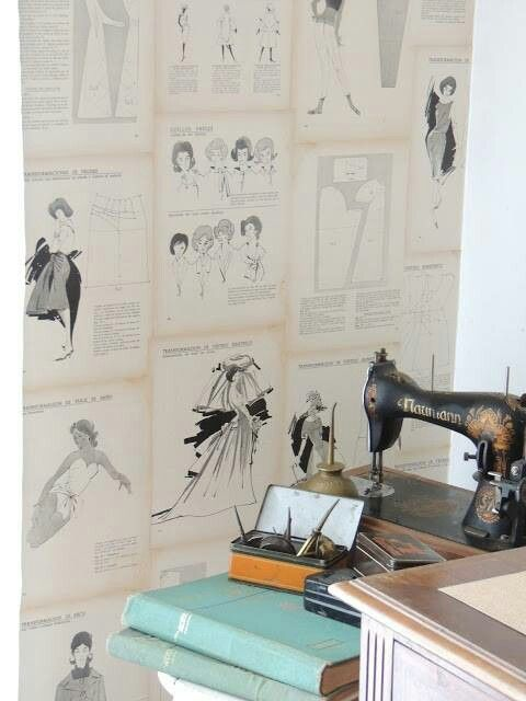 Wallpaper Sewing Room Modge Podge Grandma's Old Patterns Sewing Classy Sewing Machine Wallpaper