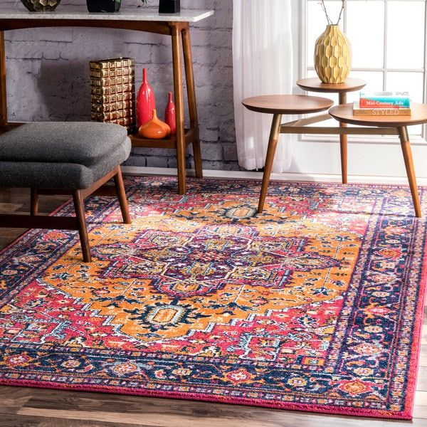 Nuloom persian medallion orange rug 67 x 9 free shipping today overstock com 23540235 dream home pinterest orange rugs persian and bed