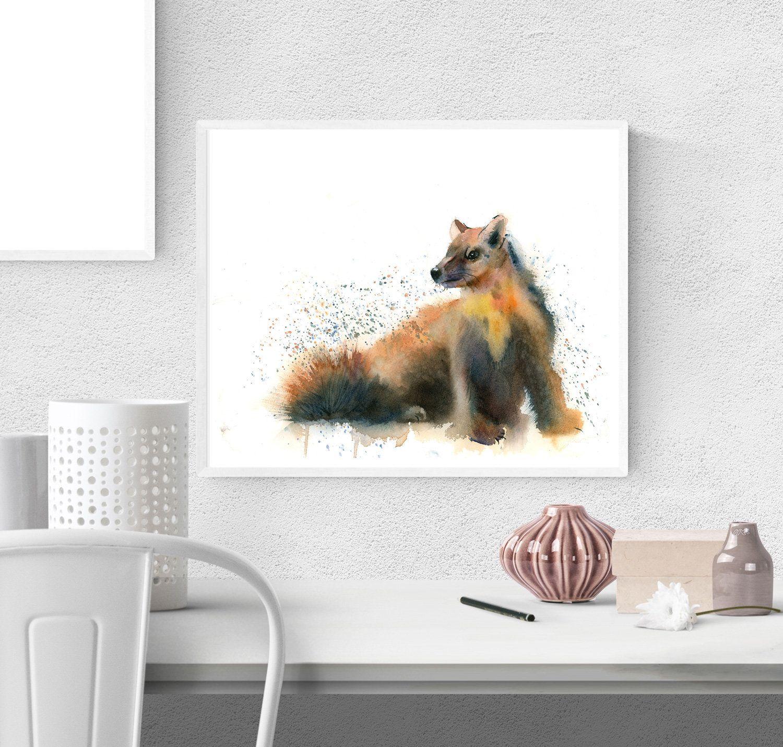 Pine Marten print Wild animal Nursery wall art decor