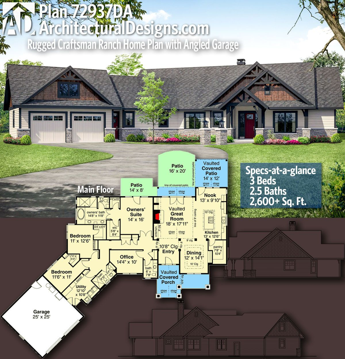 Plan 14632rk Rugged Craftsman With Room Over Garage: Plan 72937DA: Rugged Craftsman Ranch Home Plan With Angled