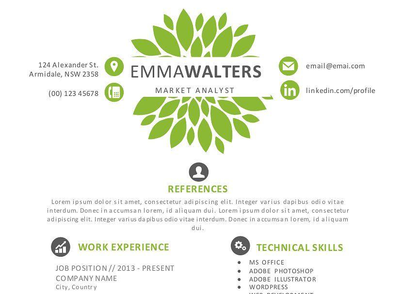 Creative flower resume template resumeflowercreative