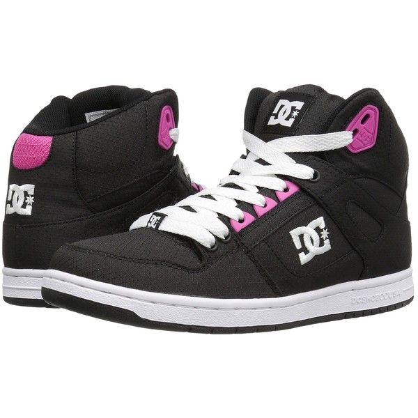 fa1ff0b7061b27 DC Rebound High TX SE (Black Fuchsia) Women s Skate Shoes (100 AUD) ❤ liked  on Polyvore featuring shoes