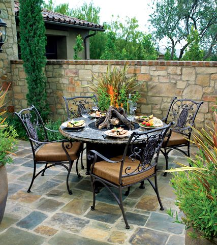 Outdoor Dining Table With A Fire Pit In The Middle Enjoy A Nice