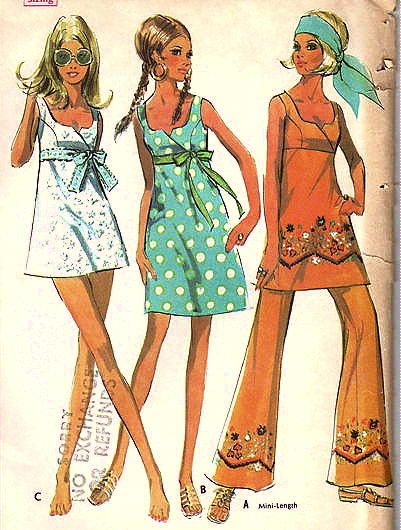 Pattern For Empire Waist Mini Dress And Bell Bottom Pants 1960 39 S And 1970 39 S Fashion When I