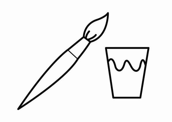 Brush And A Cup Of Paint Coloring Page Coloring Sky Coloring Pages Color Coloring Pages For Kids