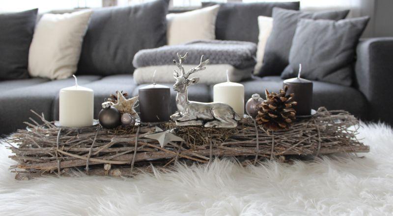 aw113 adventsdeko aus holzst ben dekoriert mit einem. Black Bedroom Furniture Sets. Home Design Ideas