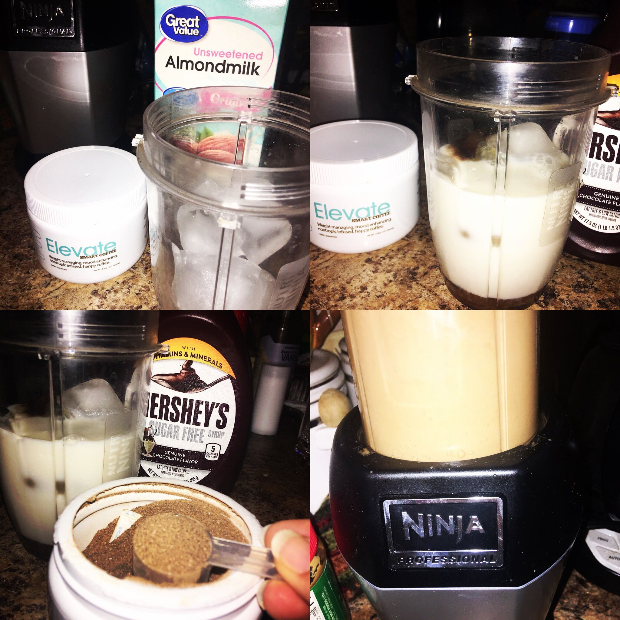 1 Cup Ice 1 Cup Unsweetened Vanilla Almond Milk 1 Scoop