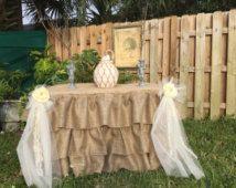 Ruffed burlap tablecloth, rustic elegant, Wedding Brand New Ruffed Ruffled Burlap Fitted Tablecloth -  Rectangular bride groom table,