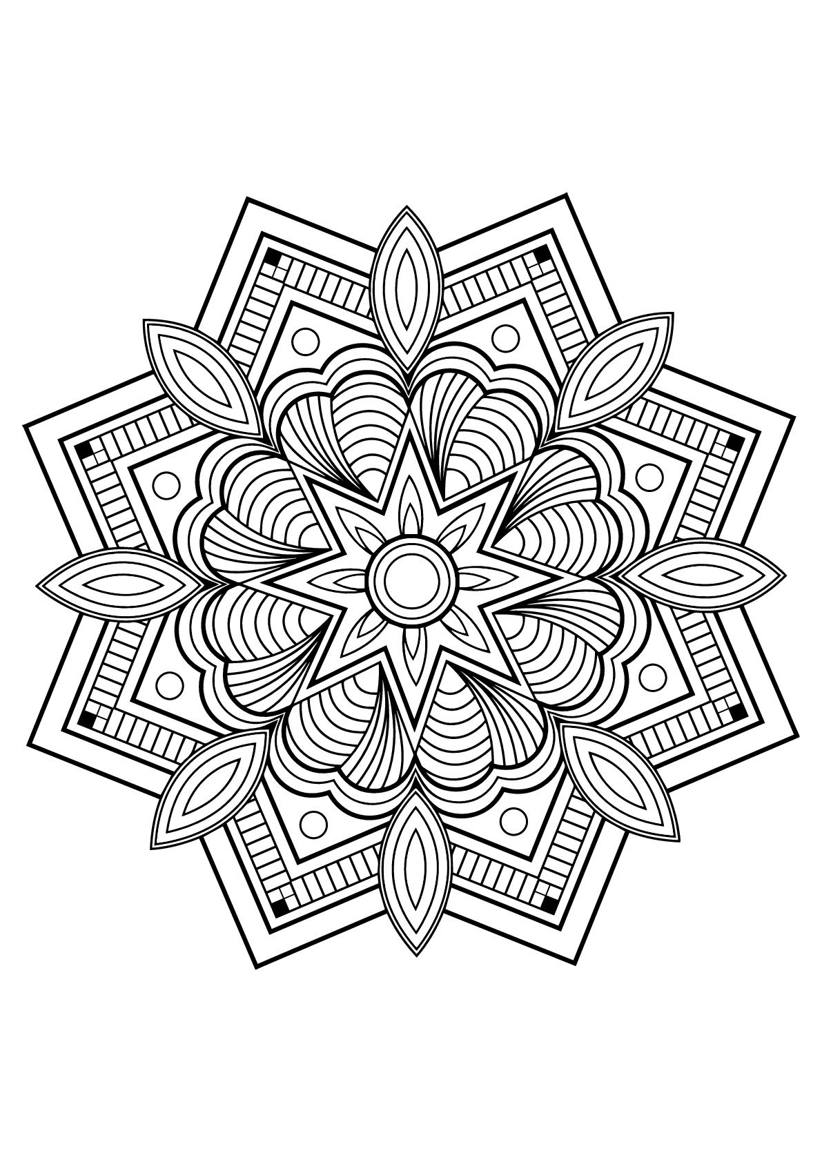 Mandala from free book for 10 | Mandalas - JustColor : Discover all ...