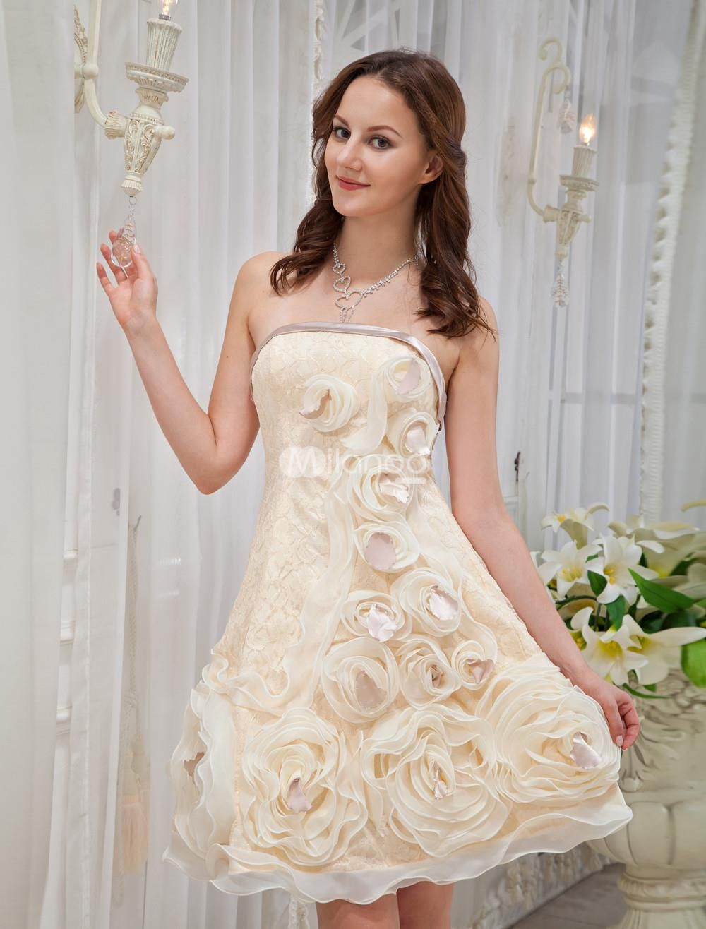 Champagne Knee Length Lace Womans Homecoming Dress. See More Colorful Dresses at http://www.ourgreatshop.com/Colorful-Dresses-C983.aspx