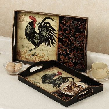 Unfinished Wooden Trays For Decoupage Decoration Delectable Rooster Royale Metal Tray Set  Decoupage Wooden Tray  Pinterest Review