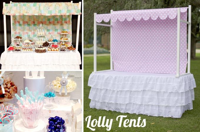 Lolly / Candy / Party Buffet Food Tent for Hire & Pricing Details: Hire - $125.00 for a 2 day hire which includes ...