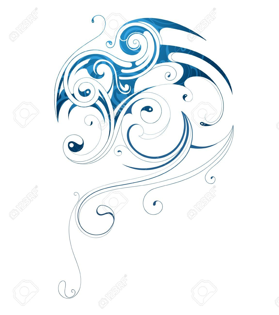 water dragon tribal tattoo google search products i love rh pinterest com au Water Wave Tattoo Tribal watercolor tribal tattoos