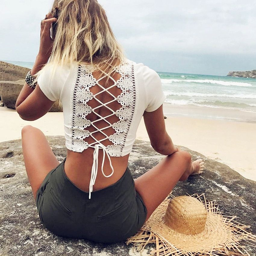 White Lace Tops Women Summer T-shirt Beach Backless T shirt Sexy Hollow Out Lace up Bandage V-neck Crop Tops Tee Shirt Femme #Affiliate