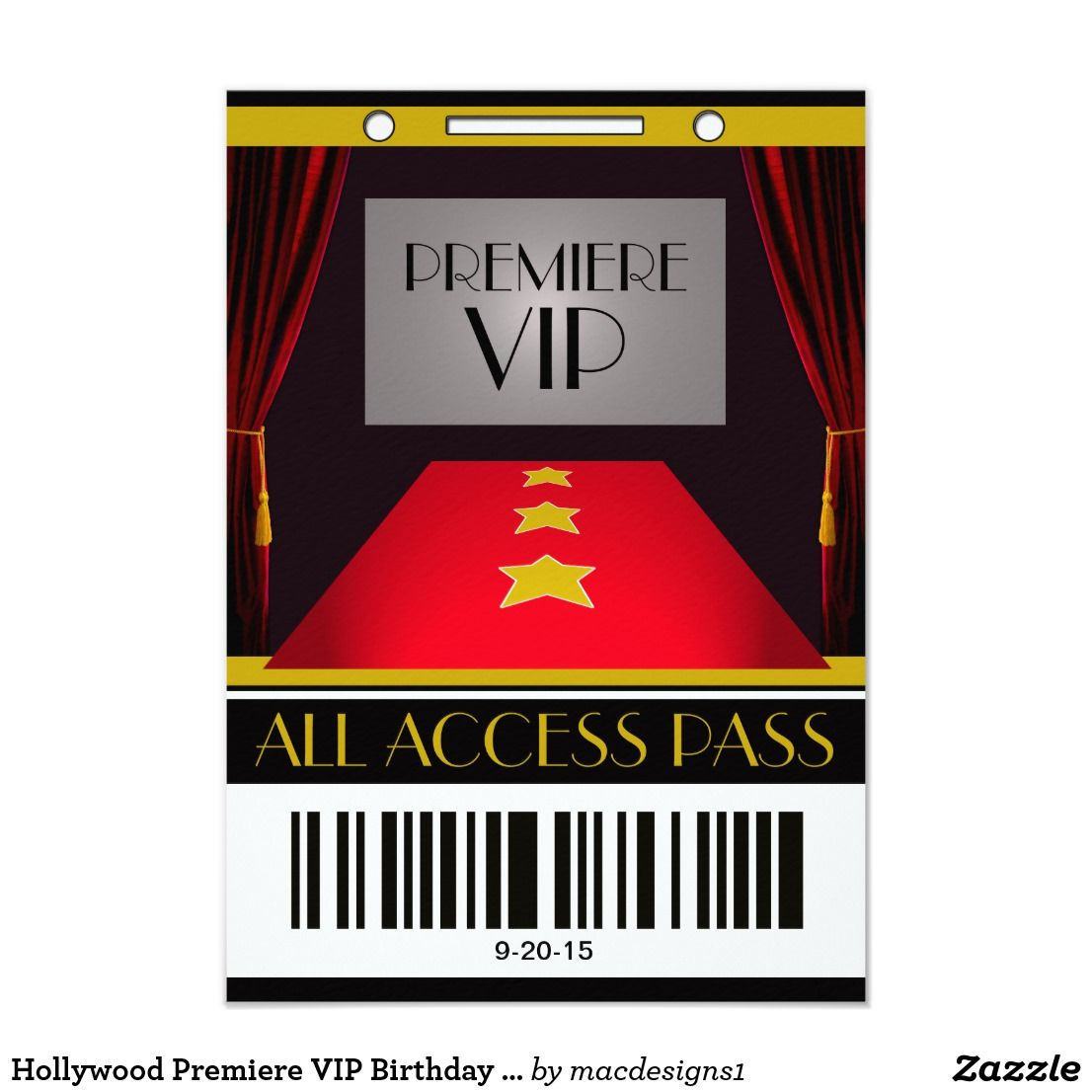 film premiere invitation template - hollywood premiere vip birthday party card themed