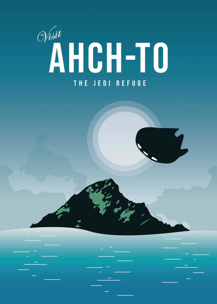ahch to the jedi refuge Minimalistic Poster Print | metal posters - Displate star… | Displate thumbnail