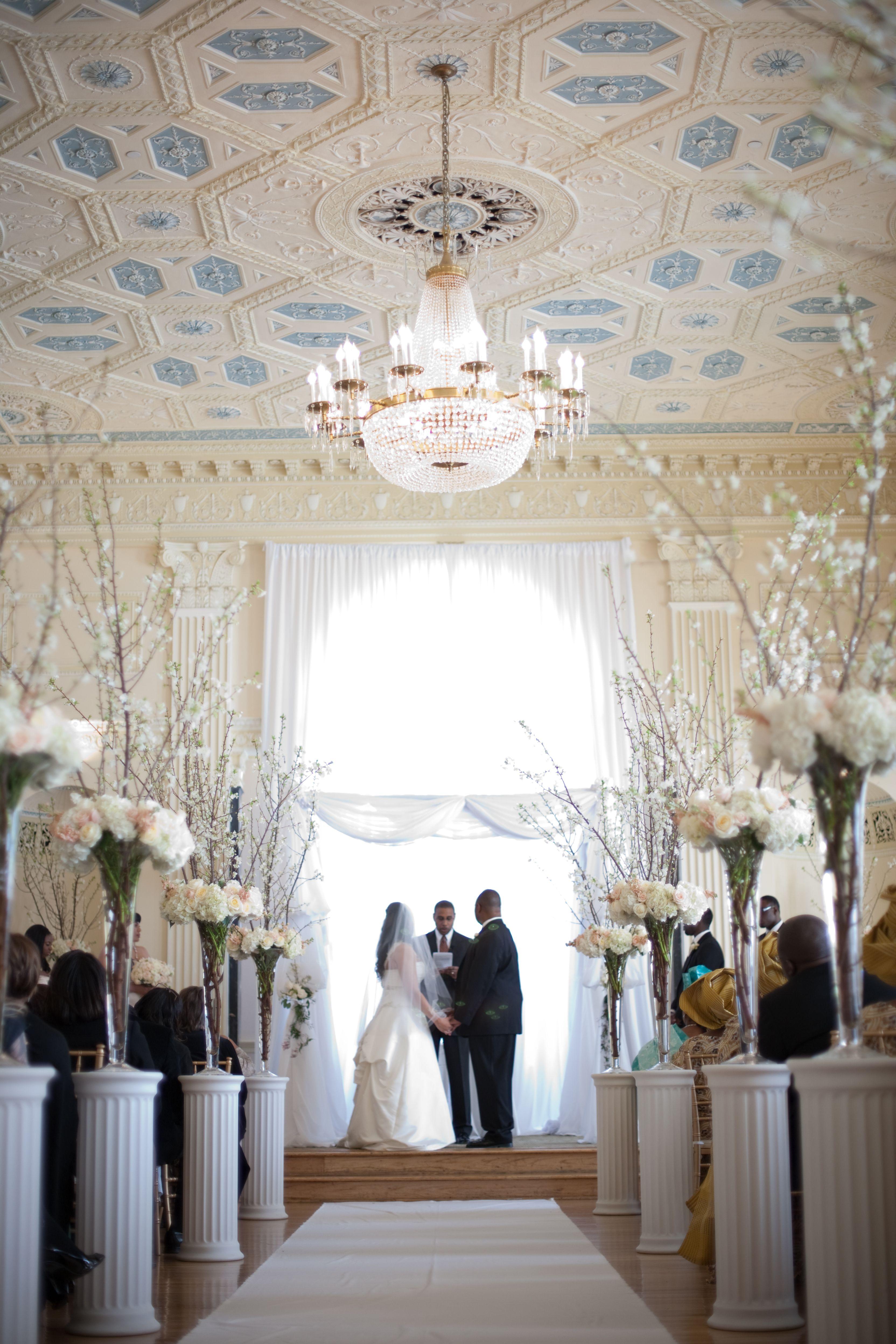 Atlanta Biltmore wedding - Ceremony Decorations - trumpet vases with ...