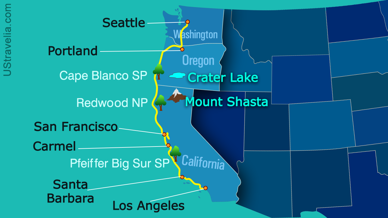 Valuable Tips for Planning a Drive from Seattle to Los ... on vancouver to alaska map, seattle to california, seattle usa map, lake michigan circle tour map, san francisco district map, california to san francisco map, boston to los angeles map, seattle washington map, chicago to toronto map, seattle texas map, eureka to san francisco map, seatac to san francisco map, denver to san francisco map, san francisco to portland map, san francisco va hospital map, nyc parking map, chicago to los angeles map, seattle to los angeles, seattle california map, seattle alaska map,