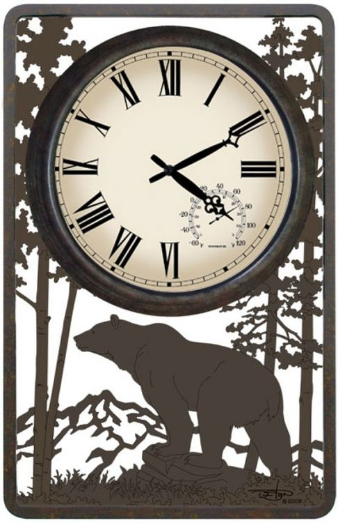 This Bear Outdoor Clock Features Original Vertical Design With A Sealed Mechanism Making It Weatherproof The Is Nested In Powder Coated