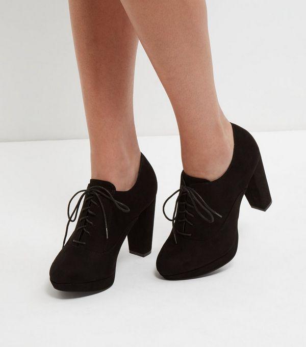 31b5c2a3ba509 Black Wide Fit Lace Up Shoe Boots | Fuller figure | Shoe boots ...