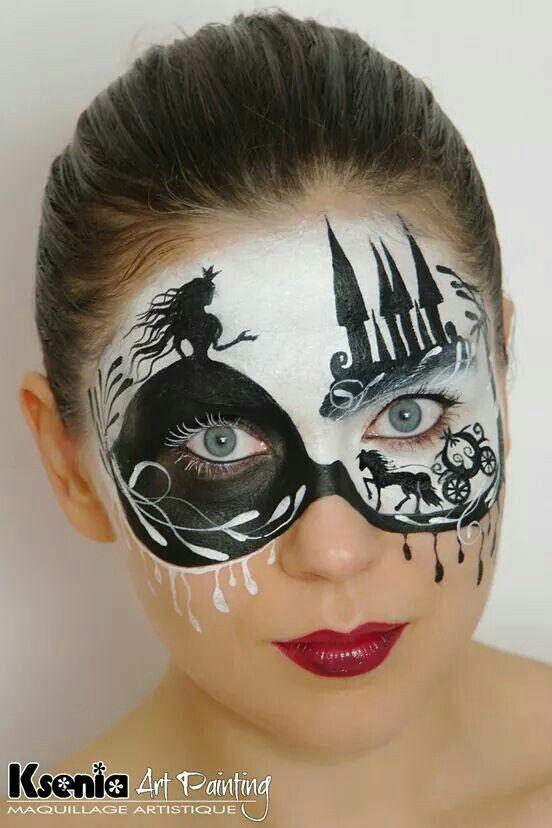 Cinderella-Cartoon black and white | Face paint Halloween