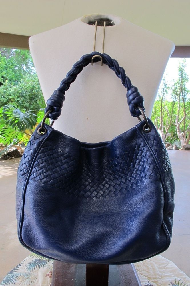Bottega Veneta Colbalt Blue braided strap cervo leather hobo shoulder bag EUC #BottegaVeneta #Hobo