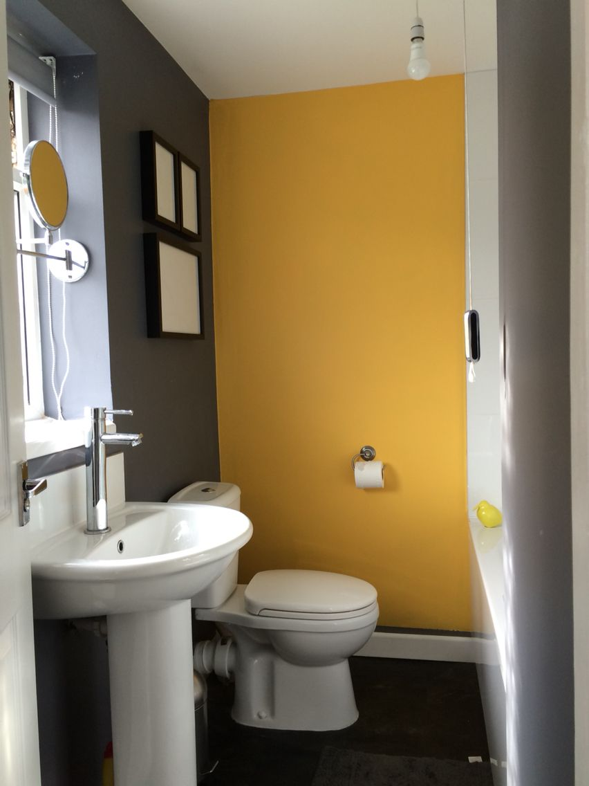 Bathroom Grey Yellow Feature Wall