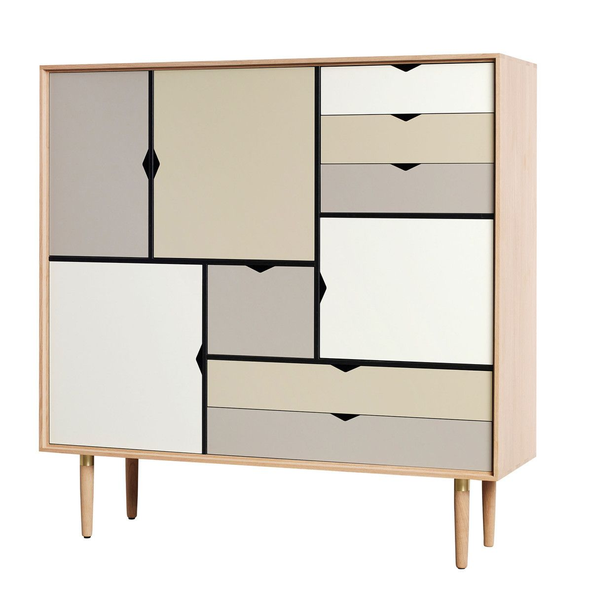 Andersen Furniture - S3 Kommode, Eiche geseift/ Fronten silver ...
